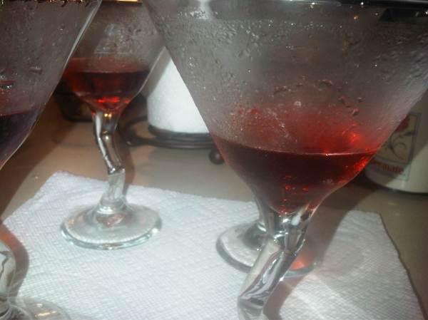 pomegranate liquer and champagne